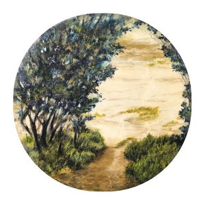 Painting - nature inspired - 90cm diameter wood panel - art By Anita Barrett