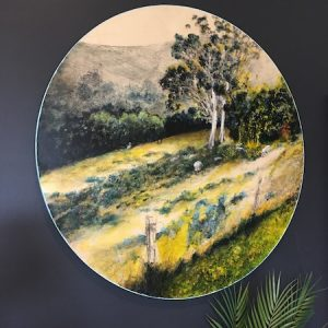 Painting-90cm diameter wood panel - landscape - australian art - art by Anita Barrett