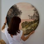 In situ - Painting - 90cm diameter wood panel - pathway - art by Anita Barrett